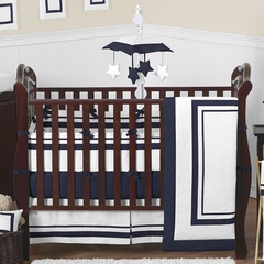 Navy and White Modern Hotel Baby Bedding 9 Pc Crib Set