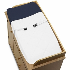 Navy and White Modern Hotel Changing Pad Cover by Sweet Jojo Designs
