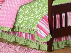 Olivia Collection Pink, Green & White Stripe Toddler Bed Skirt