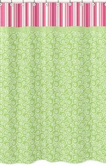 Olivia Pink and Green Scroll Print Bathroom Shower Curtain