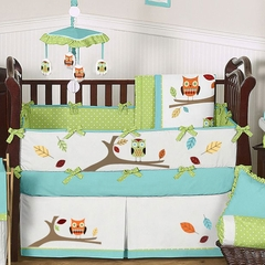 Owl Turquoise and Lime Baby Bedding - 9 Pc Crib Set