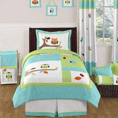 Owl Turquoise and Lime Twin Bedding - 4 pc Set