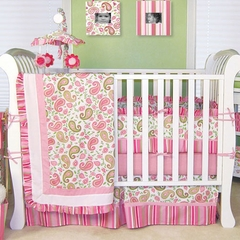 Paisley Park Pink and Green Baby Bedding  3 Pc Crib Set