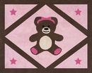 Pink and Brown Teddy Bear Accent Floor Rug by Sweet Jojo Designs