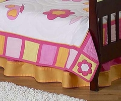 Pink and Orange Butterfly Toddler Bed Skirt by Sweet Jojo Designs