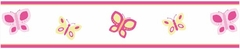 Pink and Orange Butterfly Wall Paper Border By Sweet Jojo Designs