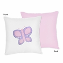 Pink and Purple Butterfly Decorative Accent Throw Pillow