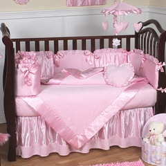 Pink Chenille Baby Bedding - 9 Piece Crib Set