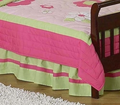 Pink Flower Toddler Bed Skirt by Sweet Jojo Designs