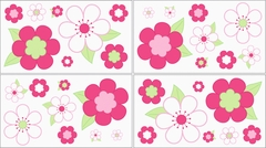 Pink Flower Wall Decals - Set of 4 Sheets by Sweet Jojo Designs