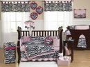 Pink Zebra Baby Bedding - 9 Piece Crib Set