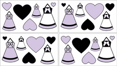 Princess Black, White and Purple Collection Wall Decals