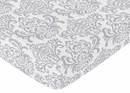 Skylar Collection Damask Print Crib Sheet