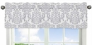 Skylar Gray and White Damask Window Valance