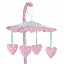 Skylar Pink, Turquoise and Gray Damask Musical Mobile