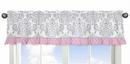 Skylar Pink, Turquoise and Gray Damask Window Valance