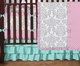 Skylar Pink, Turquoise and Gray Girl's Ruffle Crib Bedding - 9 Pc Set