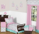 Skylar Pink, Turquoise and Gray Girl's Ruffle Toddler Bedding Set