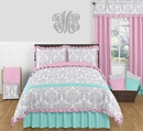 Skylar Girl's Pink, Turquoise & Gray Ruffle Full/Queen 3 Pc Bedding Set