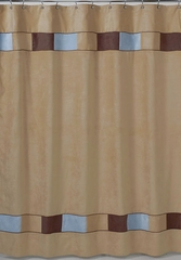 Soho Blue and Chocolate Brown Modern Bathroom Shower Curtain