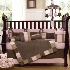Soho Pink and Brown Modern Baby Bedding - 9 Piece Crib Set