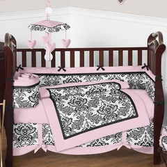 Sophia Damask Baby Bedding - 9 Piece Crib Set
