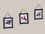 Vintage Aviator Airplane 3 Piece Wall Hangings By Sweet Jojo Designs