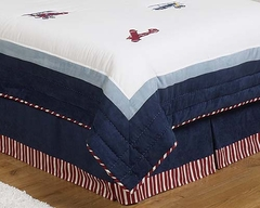 Vintage Aviator Airplane Queen Bed Skirt by Sweet Jojo Designs