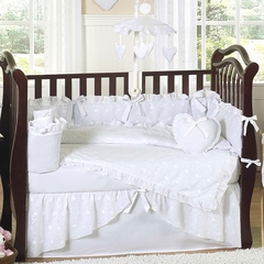 White Eyelet Baby Bedding - 9 Piece Crib Set