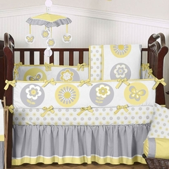 Yellow and Gray Flower Baby Bedding 9 Pc Crib Set Sweet Jojo Designs