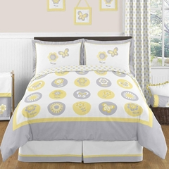 Yellow and Gray Flower Bedding 3 Pc Full/Queen Set Sweet Jojo Designs