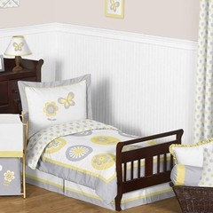 Yellow and Gray Flower Toddler Bedding Set by Sweet Jojo Designs