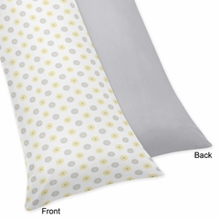 Yellow and Gray Mod Garden Full Length Body Pillow Cover