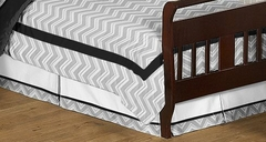 Zig Zag Chevron Black and Gray Toddler Bed Skirt by Sweet Jojo Designs