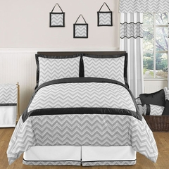 Zig Zag Chevron Black, White and Gray Full/Queen Bedding 3 Pc Set