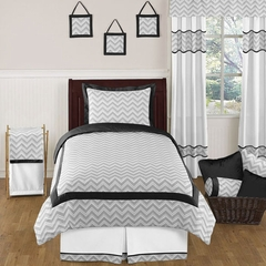 Zig Zag Chevron Black, White and Gray Twin Kids or Teen Bedding Set