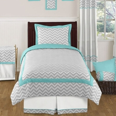 Zig Zag Chevron Turquoise, White and Gray Twin Kids Bedding Set