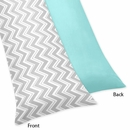 Zig Zag Chevron, Turquoise White Gray Full Length Body Pillow Cover