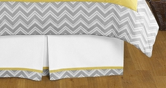 Zig Zag Chevron Yellow and Gray Queen Bed Skirt by Sweet Jojo Designs