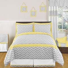 Zig Zag Chevron Yellow, White and Gray Full/Queen Bedding 3 Pc Set