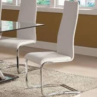 100515 White Bonded Leather Side Chairs( 4 pcs)