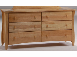 6 Drawer Double Dresser in Natural Wood Color