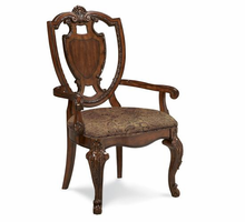 A.R.T. ART Old World Shield Back Arm Chair with Leather Seat