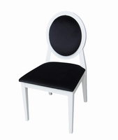 Alice - Transitional White Laquer Black Fabric Side Chair (Set of 2)