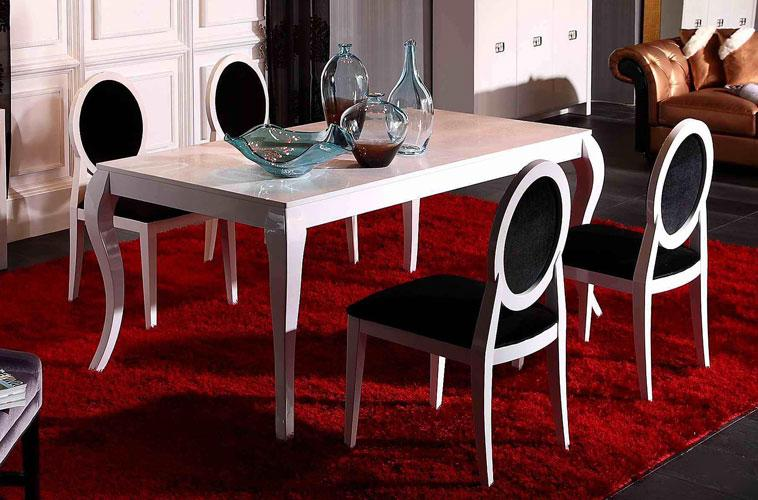 AX Dolce White Lacquer Dining Table