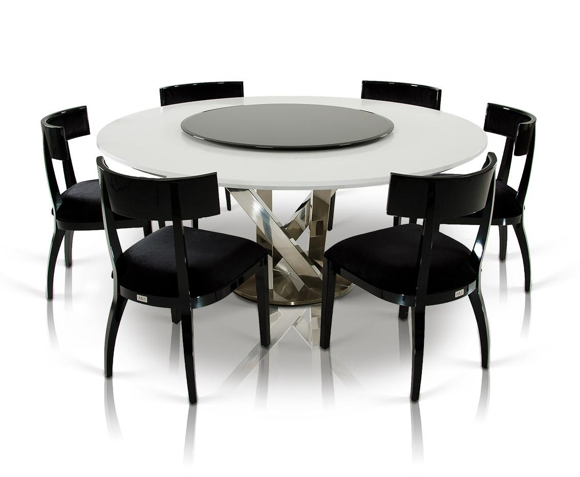 A x spiral modern round white dining table with lazy susan for Modern round dining table