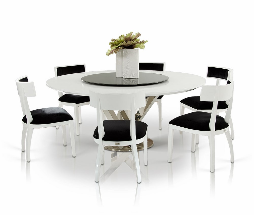 A&X Spiral - Modern Round White Dining Table with Lazy Susan