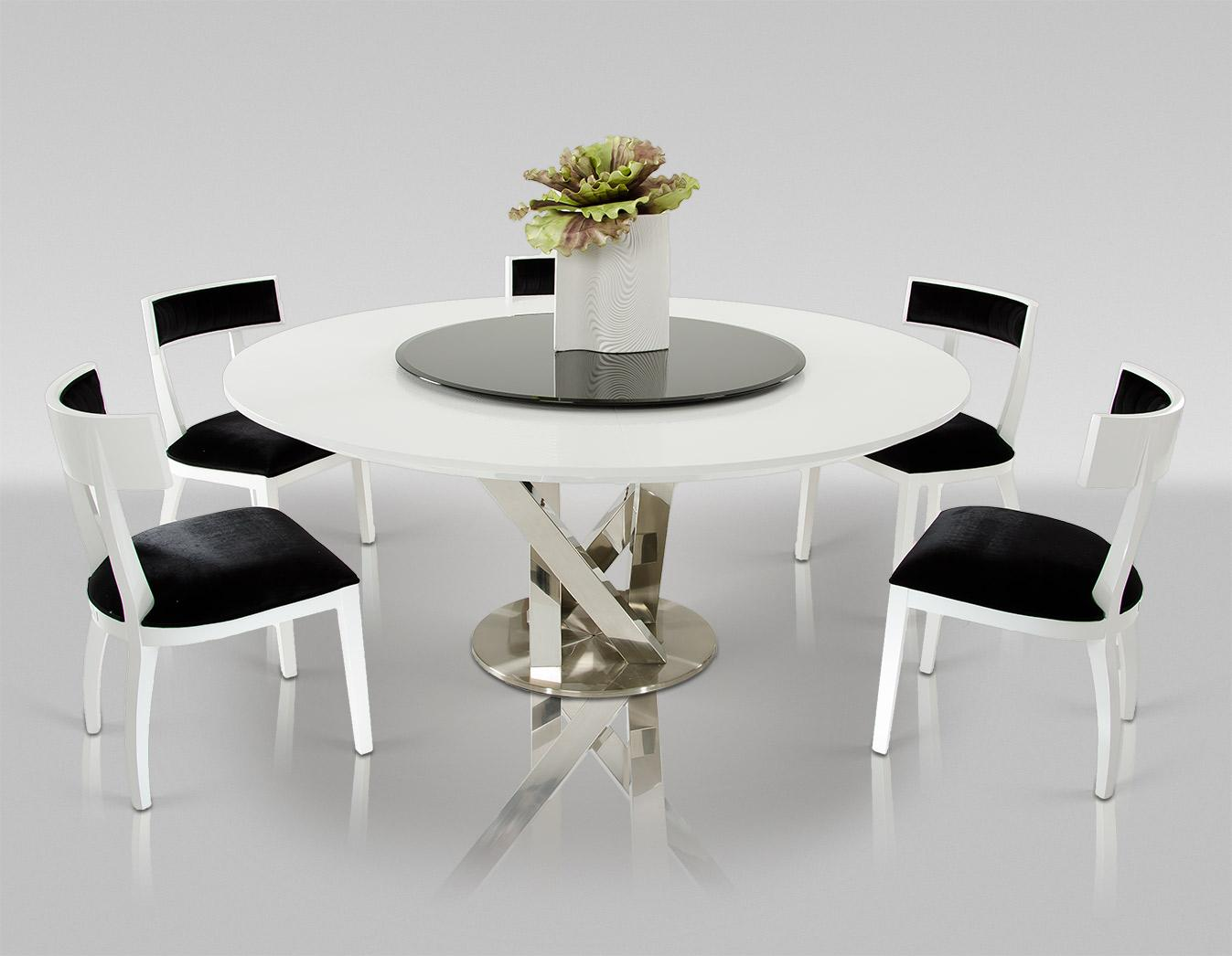A x spiral modern round white dining table with lazy susan for Modern round dining room tables