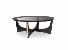 A&X Talin Modern Black Crocodile & Rosegold Coffee Table
