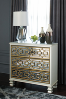 Ashley Express Furniture - Senzernell - A4000068 - Accent Cabinet, Gold/Silver Finish